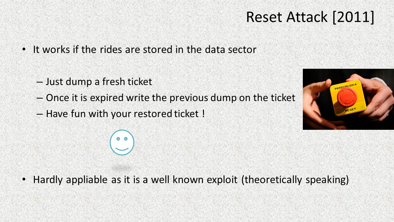 Reset Attack [2011] It works if the rides are stored in the data sector. Just dump a fresh ticket.